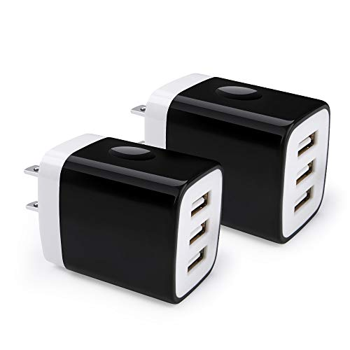 USB Charging Block Phone Charger Adapter 3-Port Charging Box 2-Pack USB Plug 3.1A Multi Port Quick Charger Cube Compatible for iPhone XR, XS MAX X 8 7 6, iPad, Samsung, LG, HTC, Blackberry, Motorola