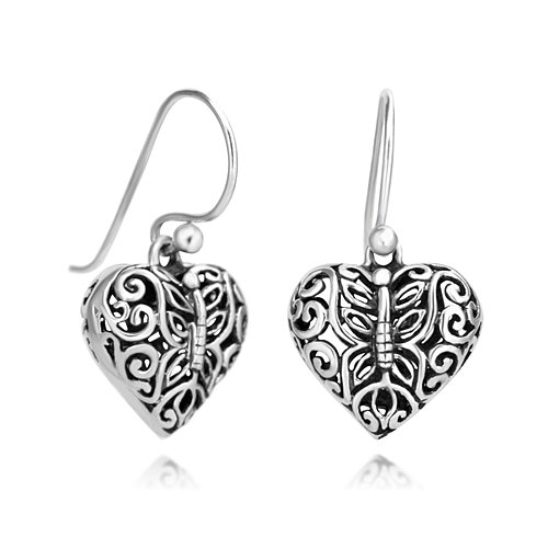 (925 Oxidized Sterling Silver Open Filigree Butterfly Puffed Heart Dangle Hook Earrings)