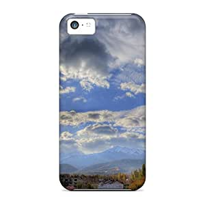 High Quality AdamDEdds Clouds Over A Beautiful Valley Town Hdr Skin Case Cover Specially Designed For Iphone - 5c