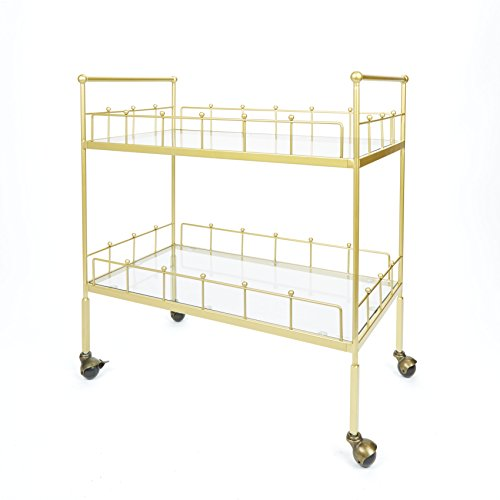 Silverwood FS1134B-COM Fitz 2-Tier Rectangular Serving Cart 2, 16 L x 30 W x 31.5 H, Gold