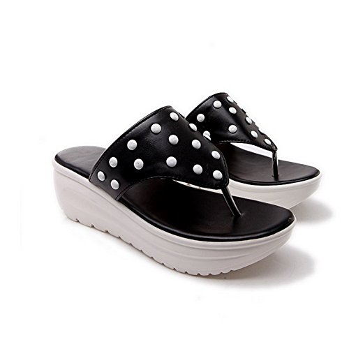 On Pull Slippers Toe Split BalaMasa Black Material Ladies Soft vqA6nxgT