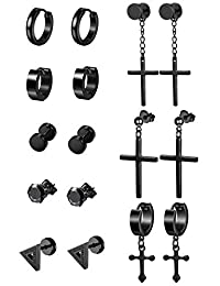 Thunaraz Stainless Steel Dangle Hinged Hoop Earrings for Men Women Huggie Drop Earrings 3-8Pairs