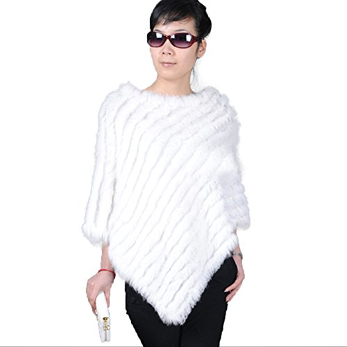 Ferrand Women's Large Real Genuine Rabbit Fur Cape Stole Shawl Jacket Poncho - Rabbit Poncho