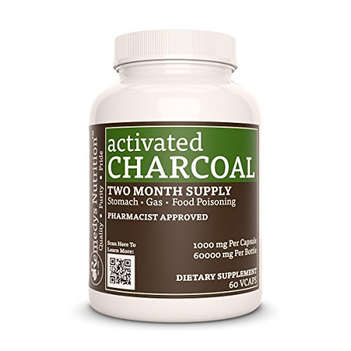 Activated Charcoal Remedys Nutrition MEGA STRENGTH 1000 mg / 60.000 mg per bottle Organic Vegan VCaps