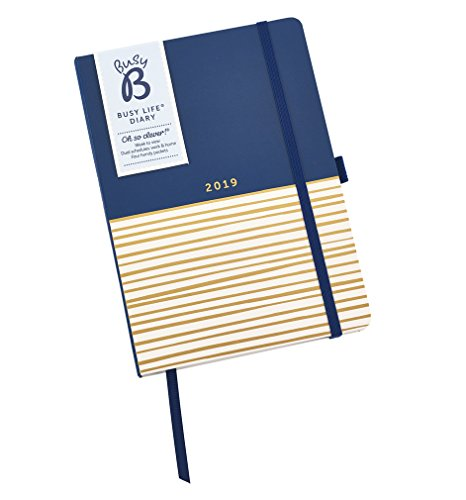 Busy B A5 2019 Stripe Design Busy Life Week to View Diary with Pockets and Dual - Weekly View Dual