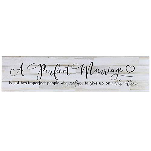 LifeSong Milestones A Perfect Marriage is Just Two Imperfect People Who Refuse to Give Up Wall Decor Decorative Sign Housewarming Gift for Living Room, Bedroom, Entyway Hallway (Distressed White)