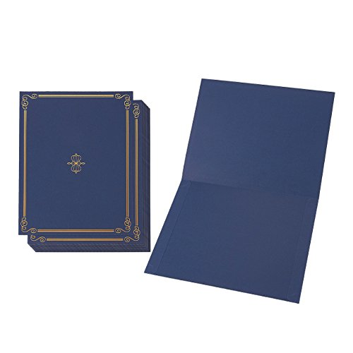 12-Pack Certificate Holder - Diploma Cover, Document Cover for Letter-Sized Award Certificates, Blue, 11.2 x 8.7 inches