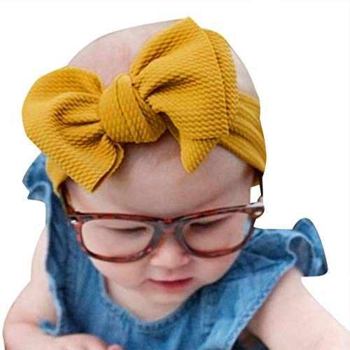 NUWFOR 1Pc Baby Toddler Girl Bowknot Headband Stretch Hairband Headwear(Yellow,Free Size)