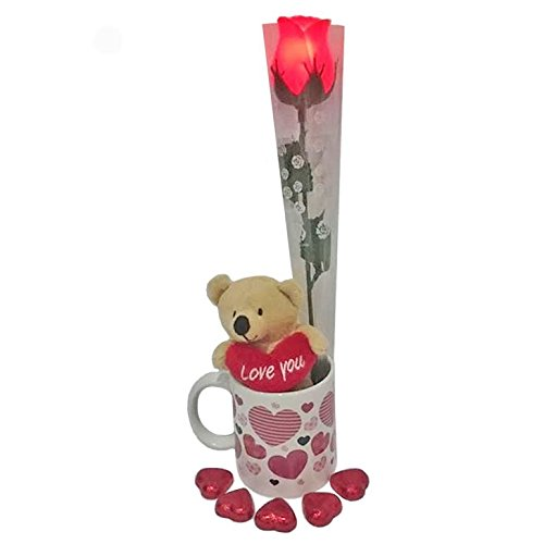 Mother's Day Gift Set with Heart Chocolates, Mug and Teddy Bear and Light Up Rose ()