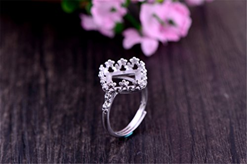 Adjustable Sterling Silver Ring Blank Long-Lasting White Gold Plated 925 Silver Ring Base (12x12mm Square Blank) R044B