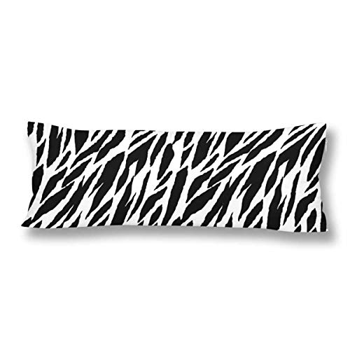 (InterestPrint Abstract Animal Print Zebra Tiger Stripes Lines Striped Body Pillow Covers Case Protector Rectangle with Zipper 21x60 Twin Sides for Sofa Decorative)