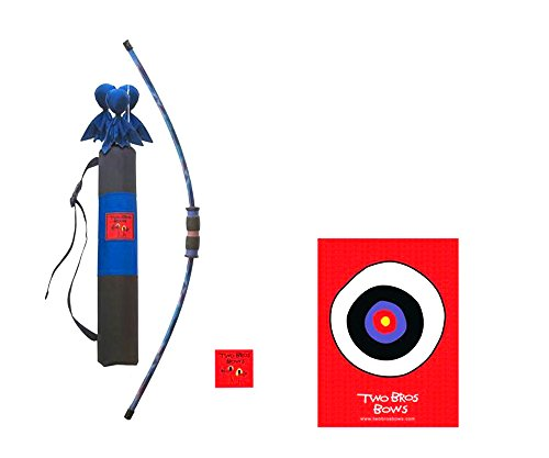 Two Bros Bows Blue Tie Dye Combination Set- 3 Arrows 1 Bow 1 Quiver Bag 1 Bullseye-Toy Archery Set -