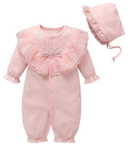 Newborn Baby Girl Embroidery Lace Romper Sets Long Sleeve Bowknot Jumpsuit Onesies + Baby Hat Outfit Sets Size 9-12Months/Tag12M (Pink)