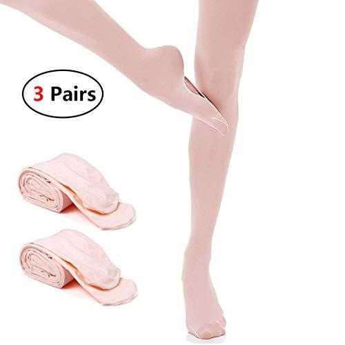 (JEANSWSB 3 Pairs Girl Ballet Dance Footed Tights Socks Cutout Foot bottom Ballerina Leggings)