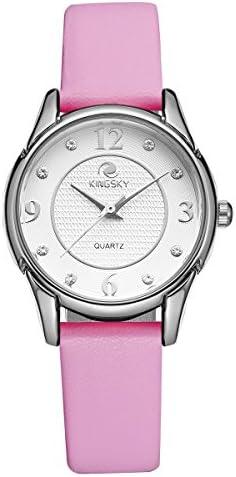 KINGSKY Women s Casual Genuine Leather Strap Japan Import Quartz Movement Wrist Watches