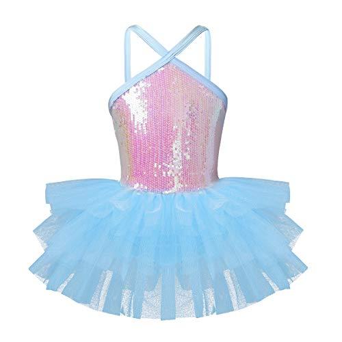 (FEESHOW Girls Sequined Camisole Ballet Dress Leotard Chiffon Skirt Sparkly Fairy Dance wear Costumes Cutout Sky Blue)