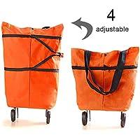 carrito de supermercado de doble uso para viajes de supermercado a casa Powstro Bolsa de carrito de compras plegable bolsa de carrito de compras reutilizable con 2 ruedas