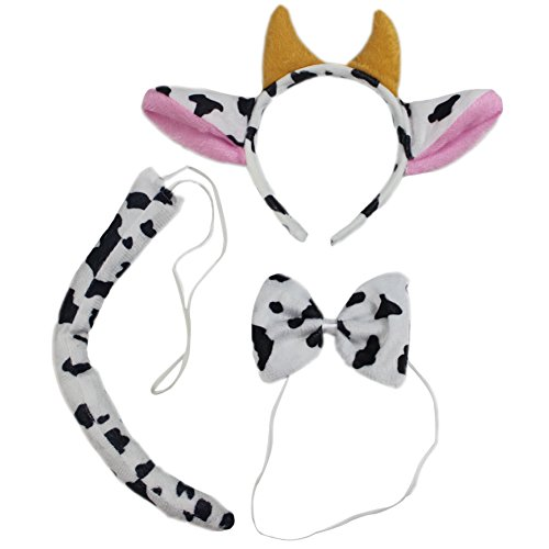 [Adults Kids Hallowmas Cosplay Costume Dairy Cattle Giraffe Headband Bow Tie Tail] (Baby Cow Halloween Costumes)