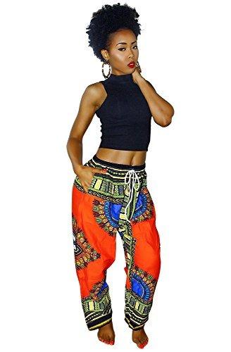 Womens Dashiki Drawstring Waist Trousers Bohemian Wide leg Lounge Pants Orange - Orange Hut