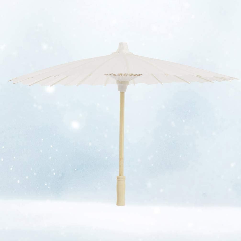 TOYANDONA 2 Pcs Chinese Oiled Paper Umbrella DIY White Paper Parasol Children Performance Props Random Style Umbrella Handle