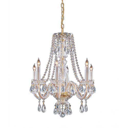 Crystorama 5086-PB-CL-MWP Crystal Six Light Chandelier from Traditional Crystal collection in Brass-Polished/Castfinish,