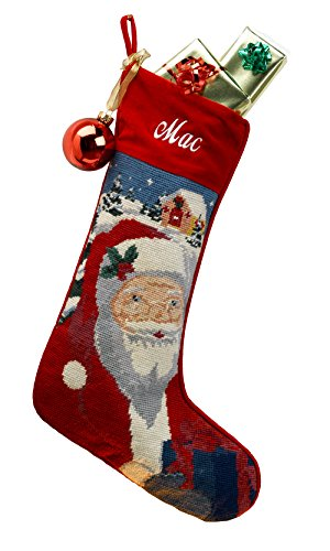 Needlepoint Christmas Stocking: Santa Personalized Velvet Stocking