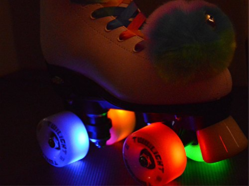Epic Allure Twilight Rainbow LED Light Up High-Top Quad Roller Skate 3 Piece Bundle Adult 8