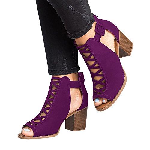 Sandals Lace Up High Liyuandian Purple Womens Strappy Heel Platform Open Toe OwIIz1xqt