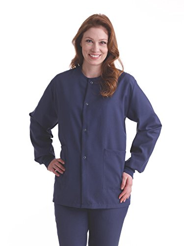 (Medline PerforMAX Unisex Snap-Front Warm-Up Jacket, Large, Navy)