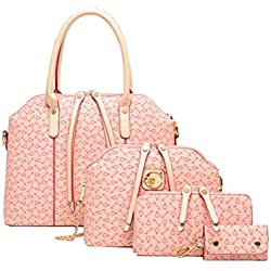 Whoishe174; Women Leatherette Pink Simple Design Arrow Printing 4 Pieces in a Lots Shoulder Handbags with Clutch
