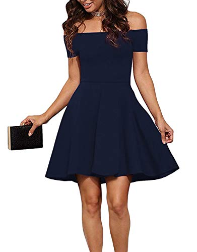 (Sarin Mathews Womens Off The Shoulder Dress Short Sleeve Sexy Homecoming Summer Cocktail Party Skater Dresses DarkBlue S)