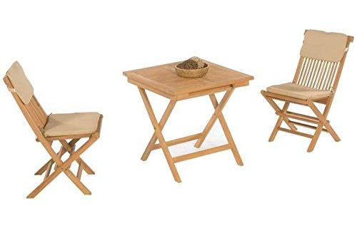 Sunny Smart Gartenmöbel - Set Bristol Teak Maße Tisch: 70 x 70 cm Gewicht: 21,0 Kg Stapelbar: Nein Ausführung: Massivholz Material: Teakholz Set bestehend aus: 2 Klappstühle inkl. Kissen und 1 Tisch