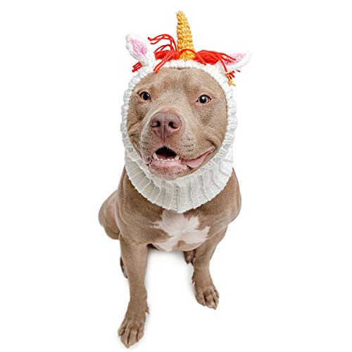 Zoo Snoods Unicorn Dog Costume – Neck and Ear Warmer Hood for Pets