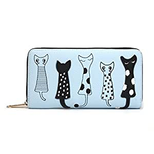 OURBAG Cartera de mujer Monedero lindo del gato Bolso largo con cremallera Azul: Amazon.es: Equipaje