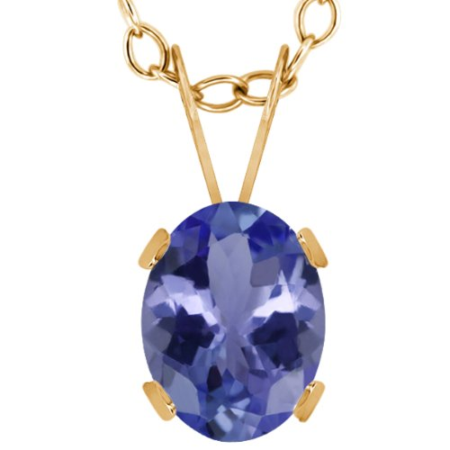 1.16 Ct Oval Blue Tanzanite 14K Yellow Gold Gemstone Birthstone Pendant Necklace (8X6MM, With 18 Inch Chain)