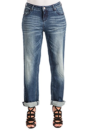 Poetic Justice Women's Curvy Fit Medium Vintage Stretch Denim Rolled Boyfriend Jeans (30 x 32Length) (Fit Curvy Jean)