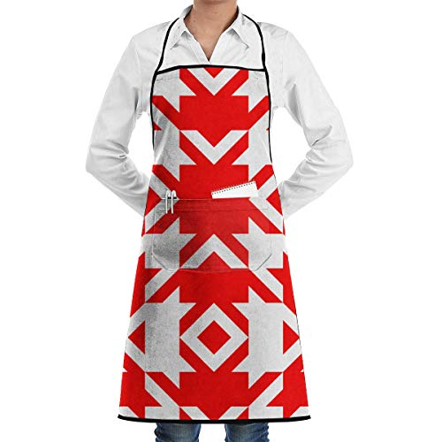 Liliynice Deluxe Cooking Aprons, Three Inch Red and White Houndstooth Wallpaper Adjustable Bib Apron Thicker Waterdrop Resistant with Pockets Cooking Kitchen Aprons for Women Men Chef, ()