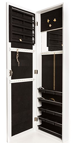 Locking Jewelry Armoire with Mirror - Wall Mount or Hanging Over the Door by Perfect Life Ideas (White - New) by Perfect Life Ideas