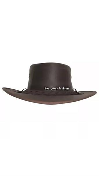 fb1f619f Smart Range Mens Women Cowboy Dark Brown Aussie Style Western Bush Real Leather  Hat (S