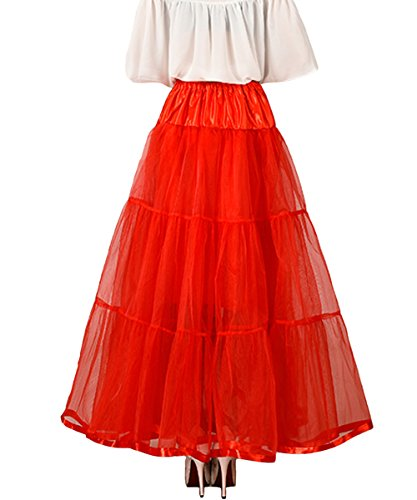 Femmes Jupon Tulle sous 100cm Femme en Robe Longueur Facent Blanc Longue Cheville Petticoat Oqwf5qd