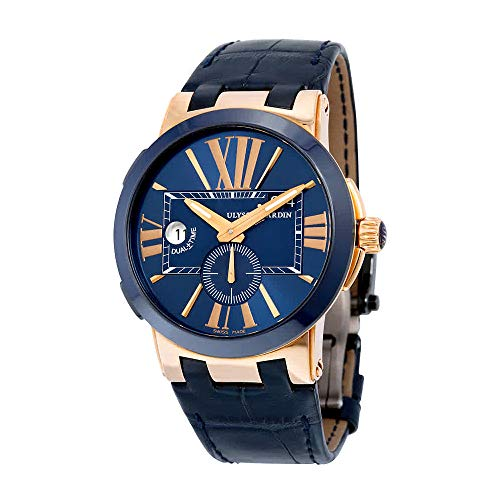 Ulysse Nardin Dual Time Men's Blue Leather Strap Rose Gold Automatic Watch 246-00-5/43