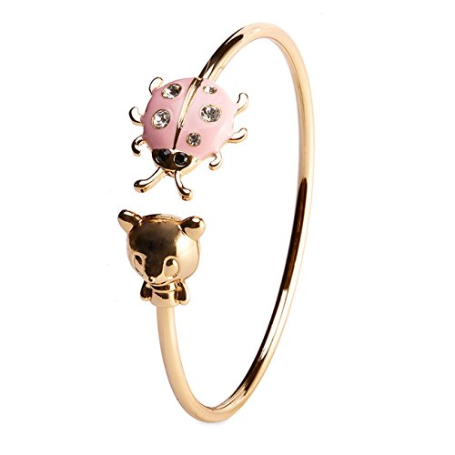 [KINGSIN Jewelry 18k Gold Planted Ladybug & Bear Enamel Alloy Cuff Bangle Stretch Open Bracelet] (Homemade Kids Costumes Easy)