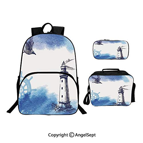 Custom Three-Piece School Bag,Lunch Bag,Pencil Bag,Nostalgic Watercolors with Gull Ancient Anchor Lighthouse Nautical Theme Blue White,For Travel School Hanging Out Gifts