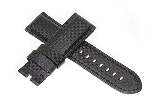 24mm CARBON FIBER Strap Black Deployment Watch Band Black Stitch Made for PANERAI by Vintage G - Mens Black Carbon Strap