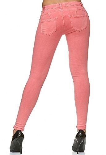 Rosa D2223 Treggings Spingere Donna Denim Effetto Pantaloni Su Skinny Corallo Forma 7zFqRgwPq