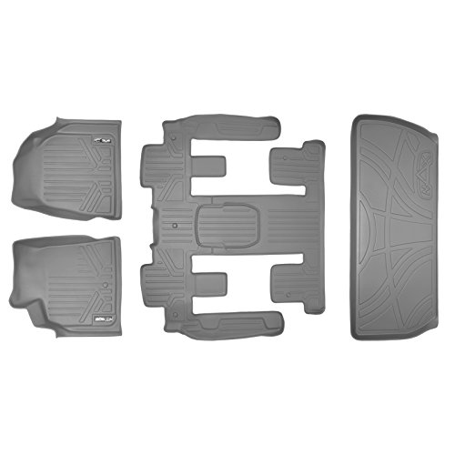 MAXLINER Floor Mats (3 Rows) and Cargo Liner Behind 3rd Row Set Grey for Traverse/Enclave with 2nd Row Bucket Seats