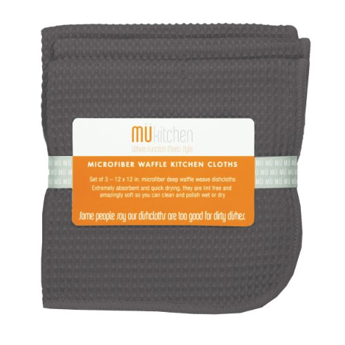 MUkitchen Microfiber Waffle Dishcloth, 12 by 12-Inches, Set of 3, Cadet Grey
