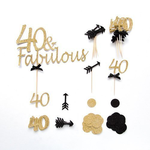 40th Birthday Decoration Pack Cake Toppers And Confetti 40