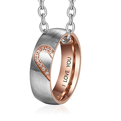 Fortheday Personalized Mens and Womens Promise Rings Set Free Engraving Stainless Steel Engagement Wedding Rings Band Set for Couples Valentines Day Jewelry (Mens(Rings+Chain)) -