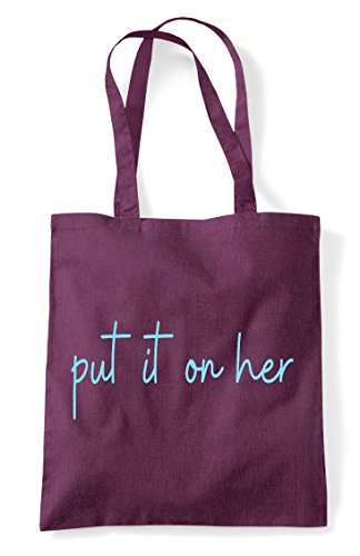 Her Tote Plum Quote Bag It Statement Put Shopper Hashtag On FABxwEw